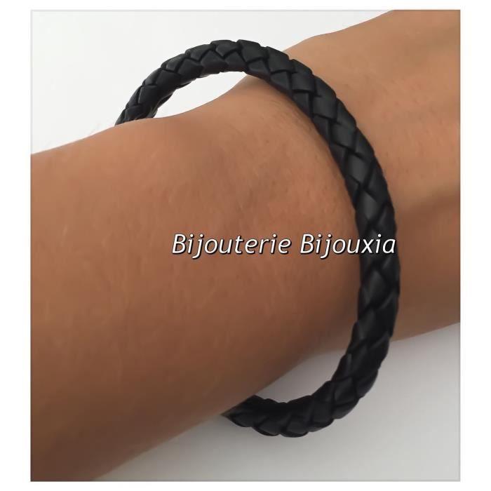 Bracelet CUIR et Acier Inoxydable 316L6,6 CM Bijoux NEUF