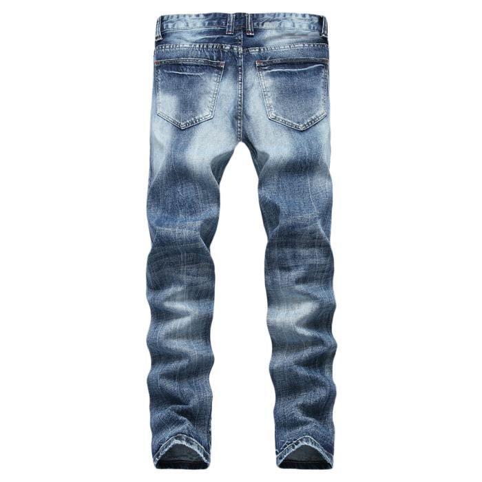 Jeans bleu Vintage Homme troué taille slim Jeans grande fit Homme rRqr7zw