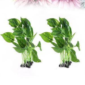 DÉCO ARTIFICIELLE 2 pcs Artificielle Plantes Aquarium Décorations Fo