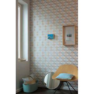 Papier Peint Origami Scandinave Bleu Saumon Argent 10 Ml X 0 53 M