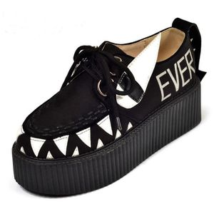 LACET  RoseG Femmes Creepers Cuir Lacets Baskets Chaussur
