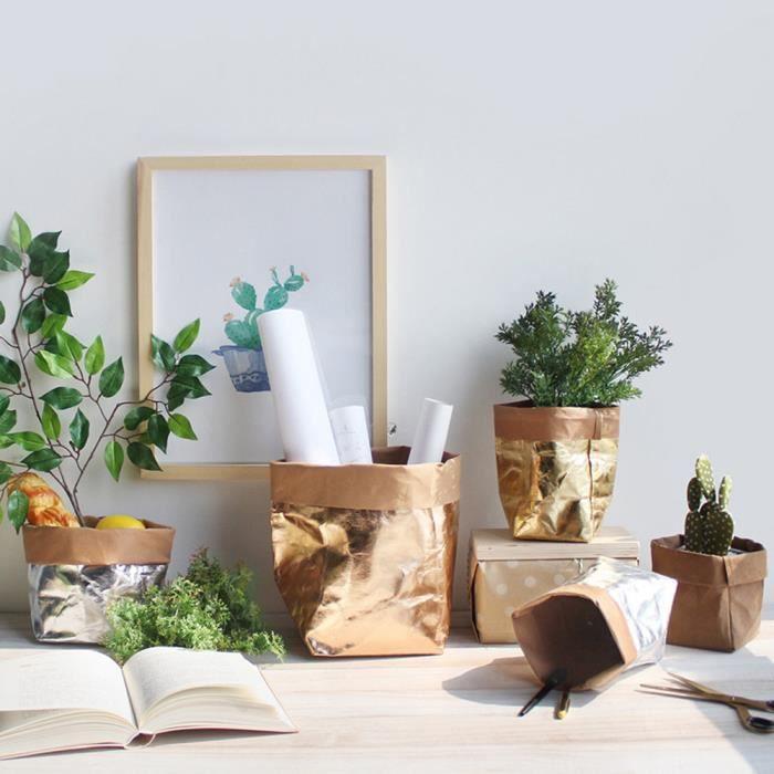 6e87fb46562e ORGANISATEUR DE TIROIR Sac de papier kraft lavable fleurs plantes Pots mu
