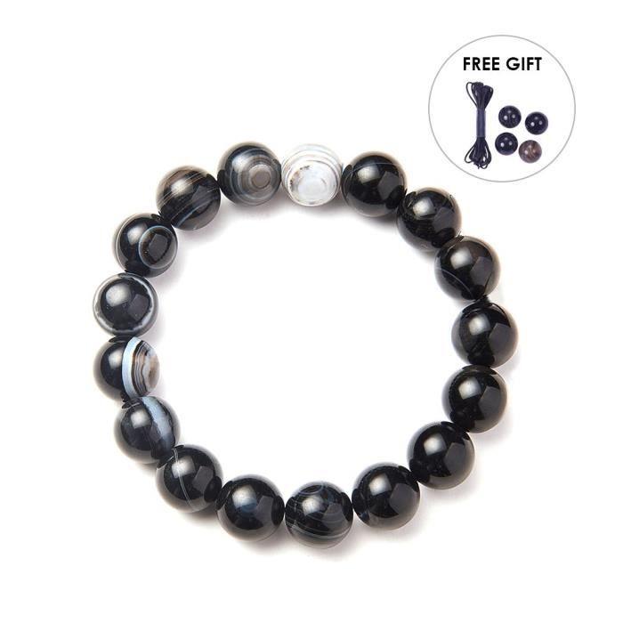 Womens Semi Precious Gemstone 10mm Round Beads Stretch Bracelet Prom Party Jewelry About 7 Unisex D1SIB