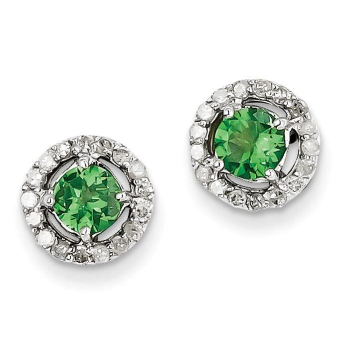 Argent Sterling diamant et Tsavorite Cercle-Boucles doreille