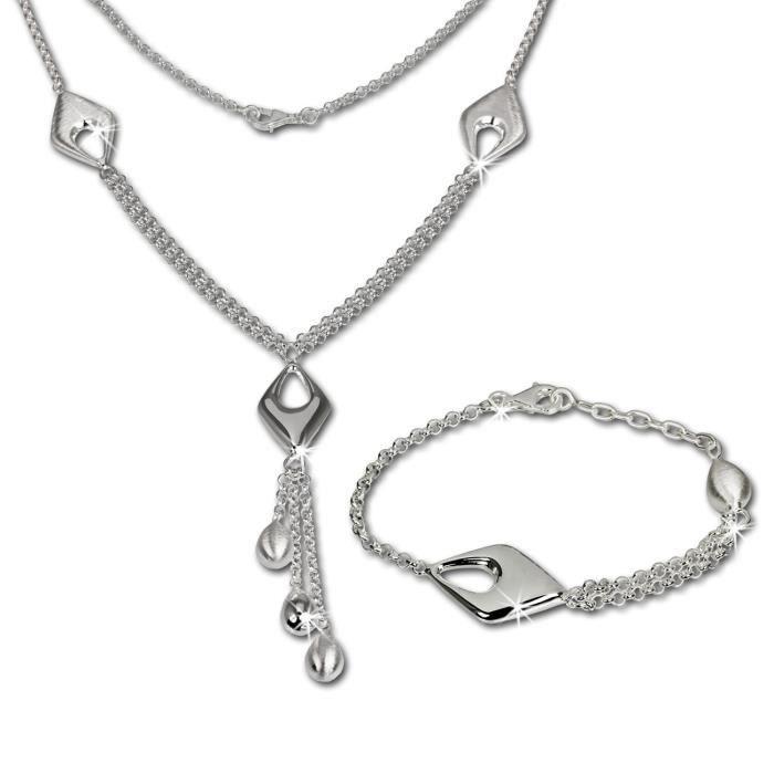 SilberDream Bijoux Set - Collier et bracelet Drop - Argent Sterling 925/1000 pour Femme - SDS413