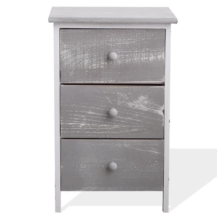 Mobili Rebecca® Table de Chevet Commode 3 Tiroirs NATURAL Bois Gris Blanc  Shabby Vintage Chambre aed1438584c1