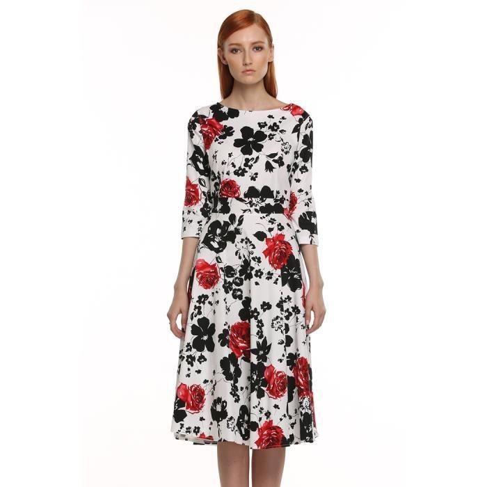 Robe Élégant floral femmes à manches 3-4 Rouge