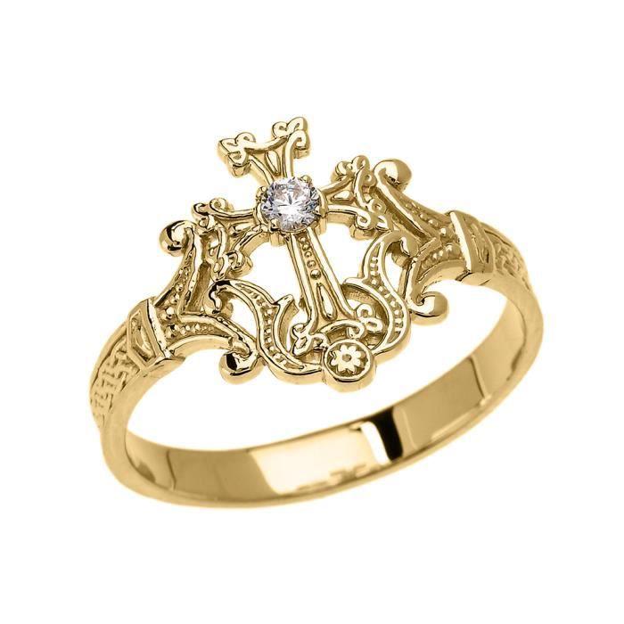 Bague Femme 14 Ct Or Jaune Solitaire Diamant Arménien Croix Elégant