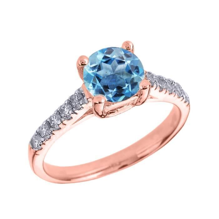 Bague Femme 10 Ct Or Rose Diamant Et Bleu Topaze Solitaire