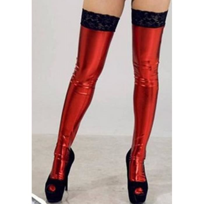 BASKET stockings, black/red/white thigh-high w/lace back