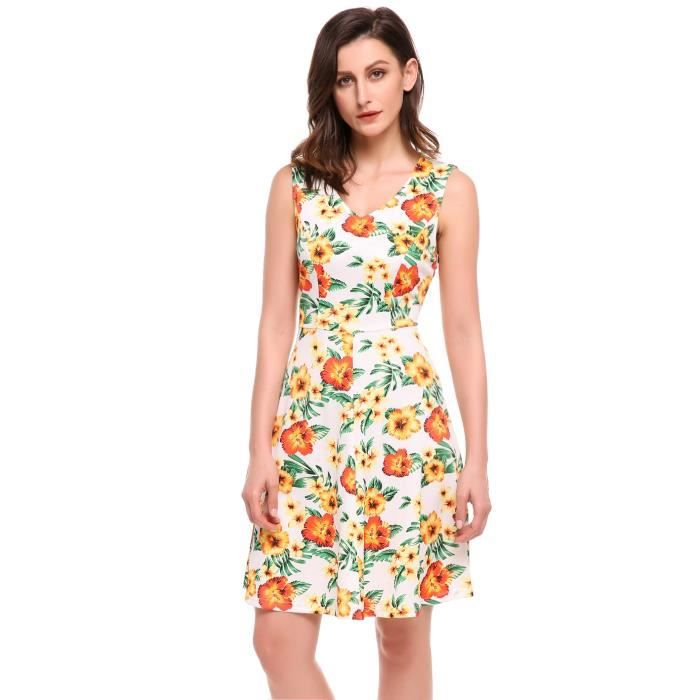 Robe Floral Print Casual Femmes V-Neck sans manches