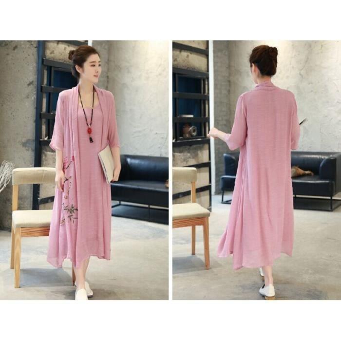 2017 femmes dété occasionnelles soirée robe de coton linge court manches courtes élégantes faux deux pièces plus maxi longs vêtemen