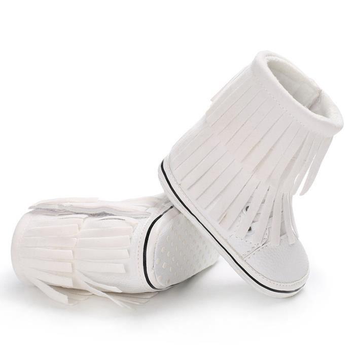 Blanc-Tendance Loisirs Hiver Bébé Garde au chaud Bottes de neige Fond mou Gland 0-1 ans bébé chaussures