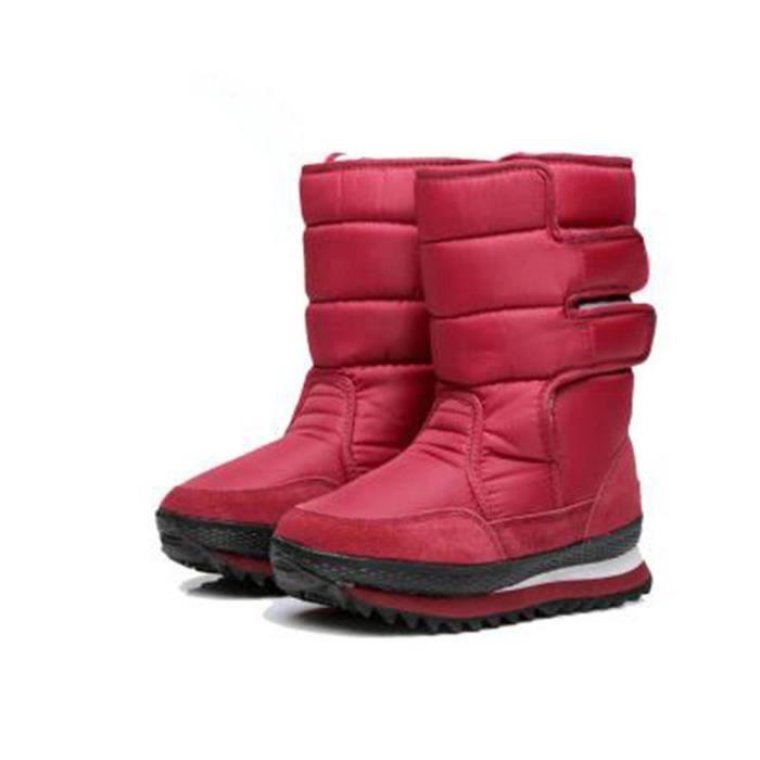 Le coton chaussures Hiver Chaud Bottines Femmes Marque De Luxe Bottes De Neige Extravagant Bottine Femmes Plus De Couleur,rouge,36