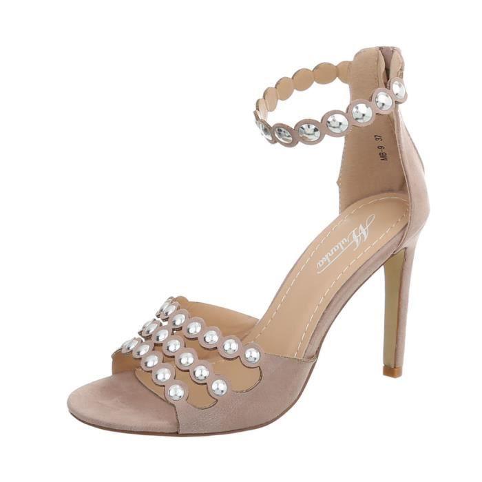 Femme High Heels Rivets Clouté Escarpin Avec Chaussures Des Rose Sandales Vieux 36 354RALjq
