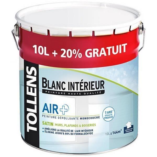 Peinture Tollens Dépolluante Air Satin Blanc 12l Aspectsatin