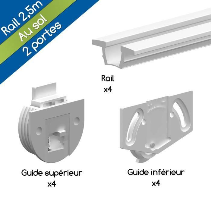 Système Porte Coulissante Tw Blanc Pour 2 Portes De Placard - Rail 2