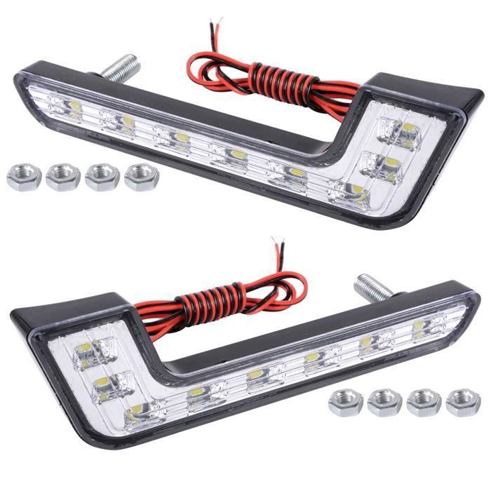 xcsource 2x 8 led drl voiture feux de jour lampe ampoule. Black Bedroom Furniture Sets. Home Design Ideas