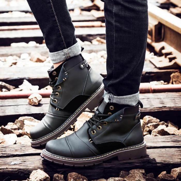 Mode Pour des hommes cuir bottes Vl98E