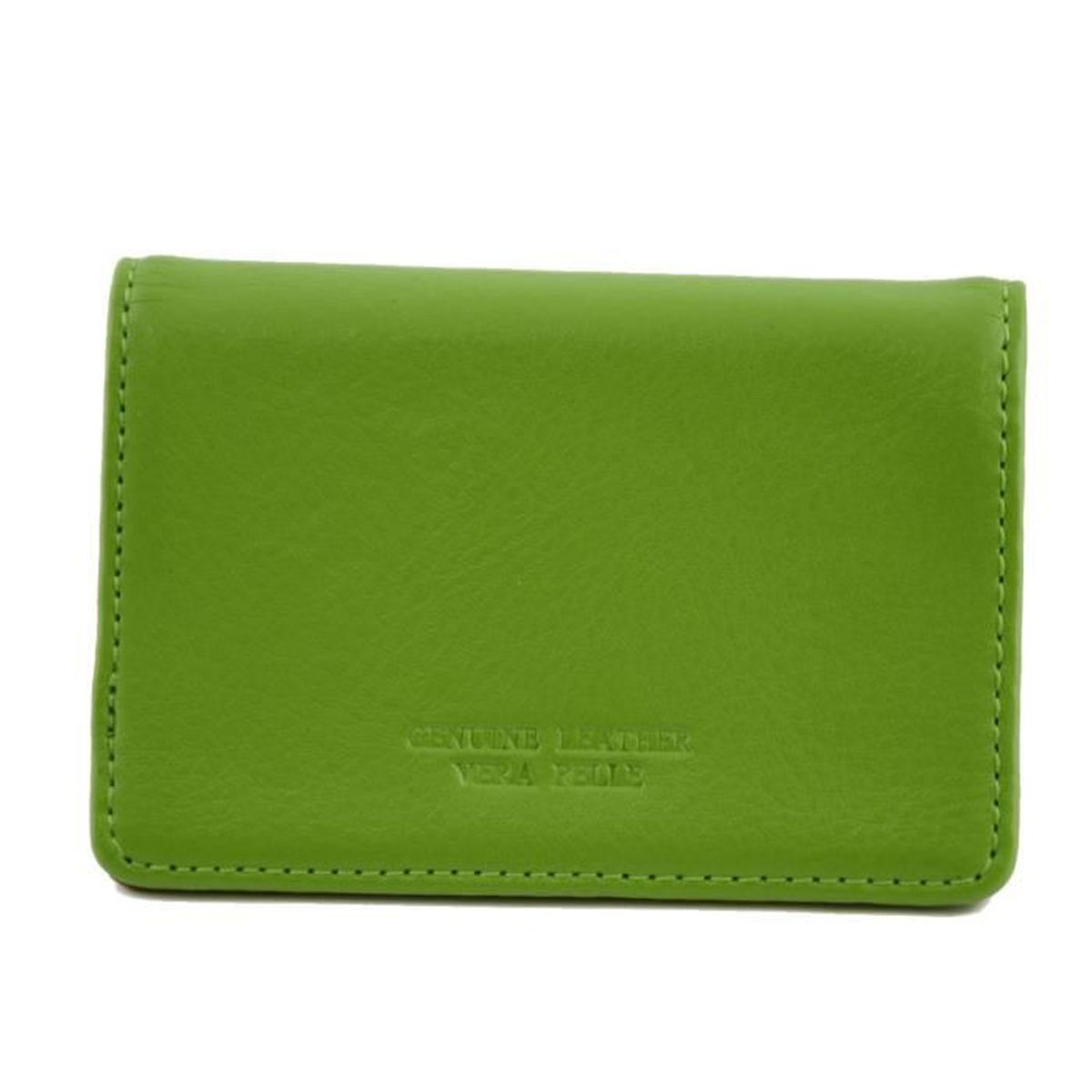 7ab4845426dc ... Couleur Vert - Maroquinerie Fait En Italie - Accessoires. PORTE CARTE  Porte Cartes De Visite En Cuir Véritable Avec Ferm