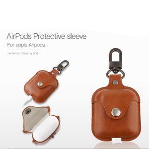 CASQUE - ÉCOUTEURS Brun Étui de recharge en cuir PU pour Apple AirPod