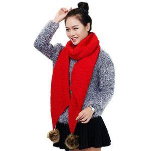 Écharpe Femme, chaud, bulbe cheveux, tricoter, laine, écharpe rouge-1900 5510ac94d6d