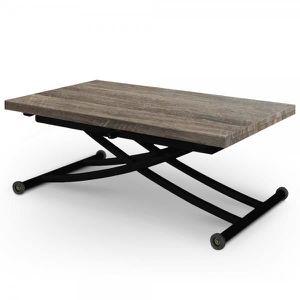 TABLE BASSE Table relevable Ilona noir et bois vintage