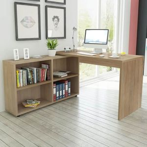 BUREAU  Bureau d'angle 4 étagères chêne Contemporain table