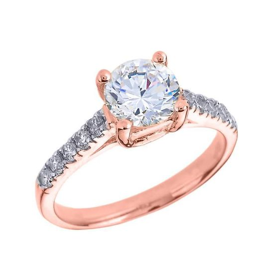 604a1eca5aa Bague Femme 10 Ct Or Rose Diamant Et Blanc Topaze Solitaire Rose ...