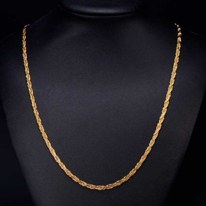 prix réduit grande variété de modèles chercher ollier corde plaqué or jaune 18 carats Femme homme Collier 60cm, 4mm