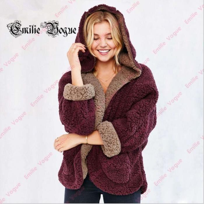 Veste en laine femme bordeaux