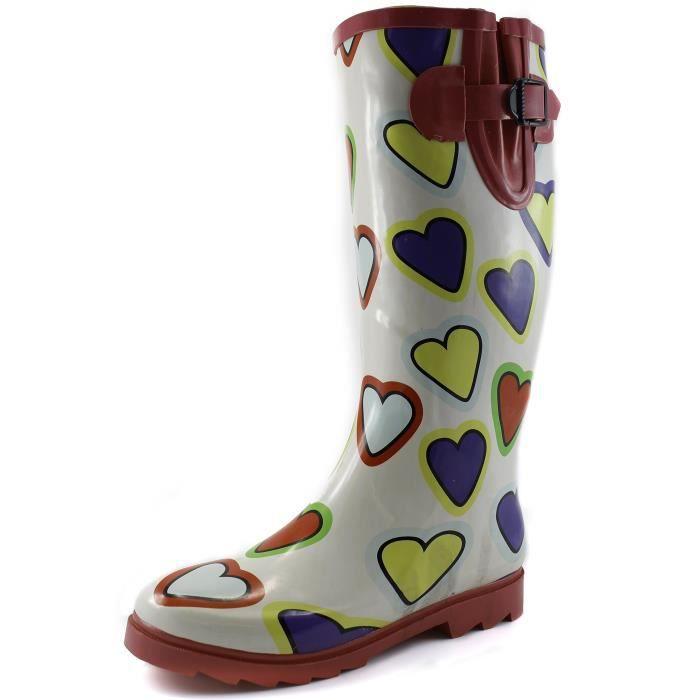 Et les flaques d'eau de pluie neige Boot Multi Color Mi-mollet Cuissardes Bottes de pluie imperméables YYYOW Taille-44 1-2 PkOikWhWyy