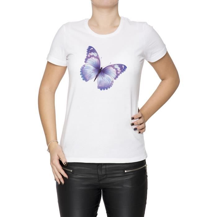 Tee Size Taille Shirt White Small Papillon Cou Femme S Manches Courtes D'équipage Blanc Women's Yb6ygf7v