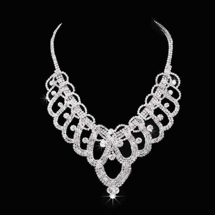 jeune mariée Mariage Ensemble de bijoux - Collier boucles doreilles coiffure Couronne 111