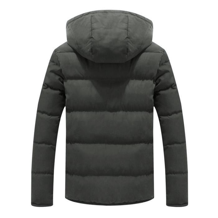 Couleur Automne Top Pure À Poche Coat Hiver Caps Capuchon Armée Zippée Verte Homme Veste H4HxqTrwpg