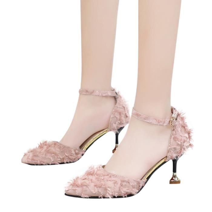 De Stiletto Rose Suede Sauvages Creux Simples Femmes Femme Pointu Hauts Sandales Talons qpEEgw1