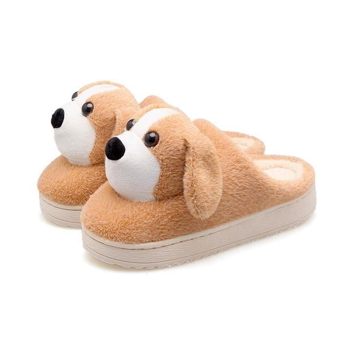 chaussons hommes chien dessin animé chaussures hommes de luxe de marque Loafer homme Poids Léger pantoufle chaud hiver peluche fBcr3Zx