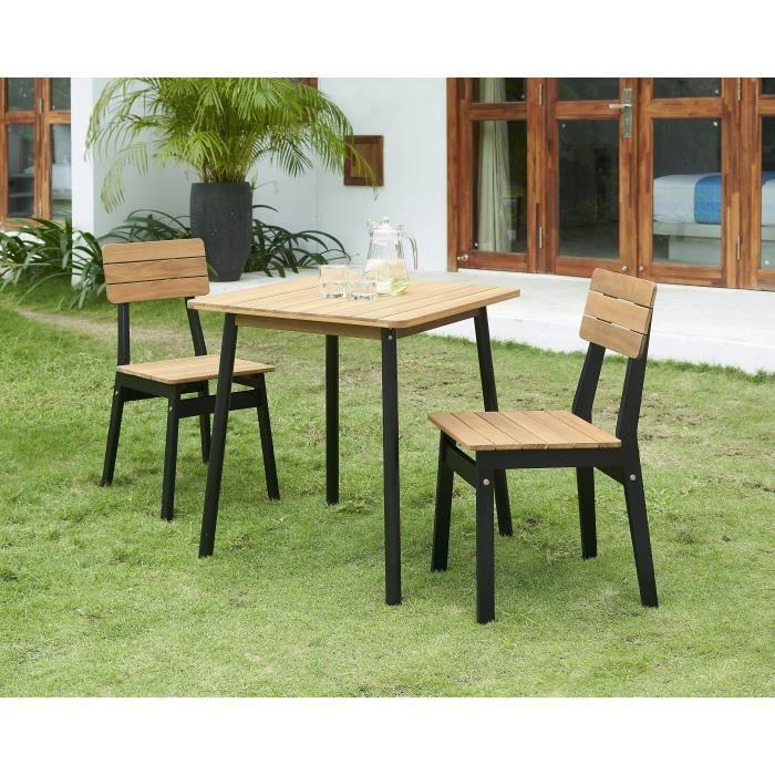 Ensemble repas de jardin - table 70x70cm et 2 chaises - structure ...