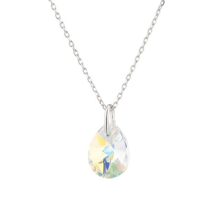 LES BIJOUX D'EMMA CRISTAL - Collier en Argent et Cristal De Swarovski Coloris Aurore Boreale
