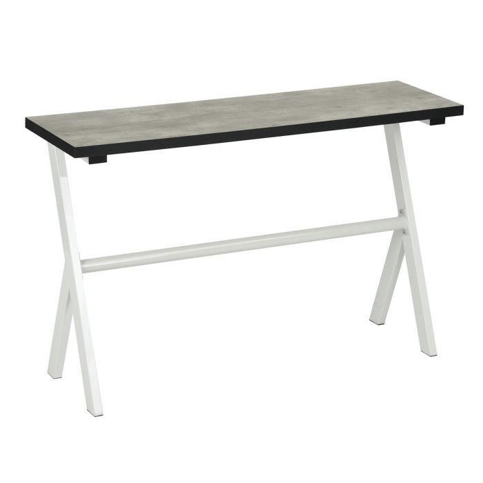 PETITJEAN Console - Contemporain - Métal blanc + plateau mélaminé décor béton - L 120 cm