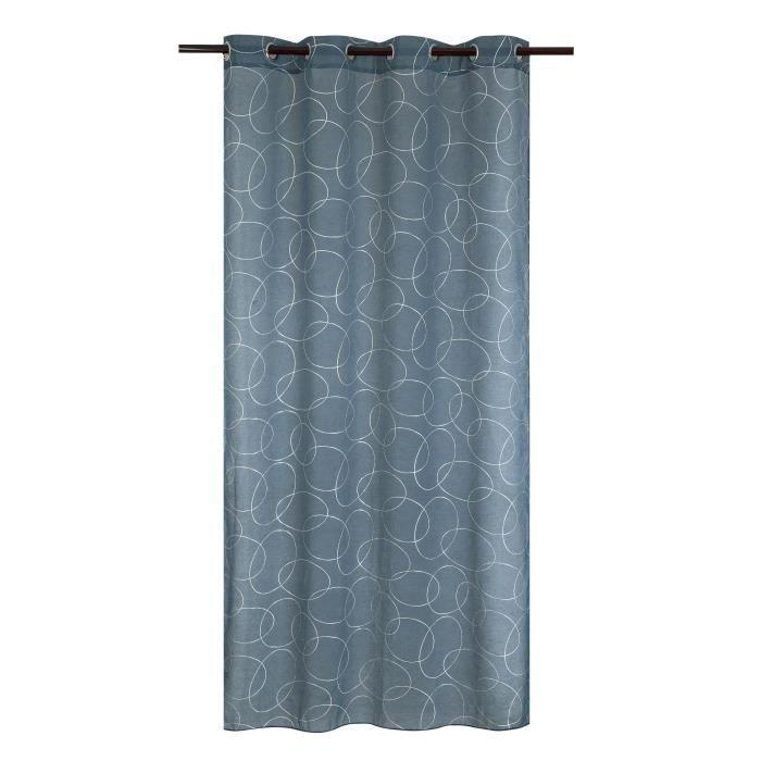 Matière : 100% polyester - Dimensions : 140x240 cm - Coloris : argenté et bleu - Type d'attaches : 8 ŒilletsVOILE - VOILAGE