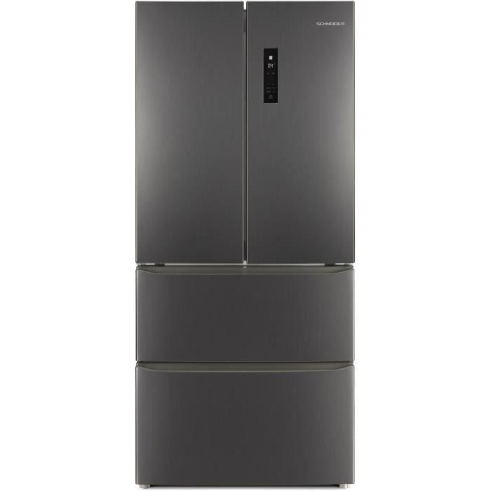 SCHNEIDER SCWFD408BS - Réfrigérateur multiportes - 418 L (274 + 144 L) - Froid no frost - A++ - L 78