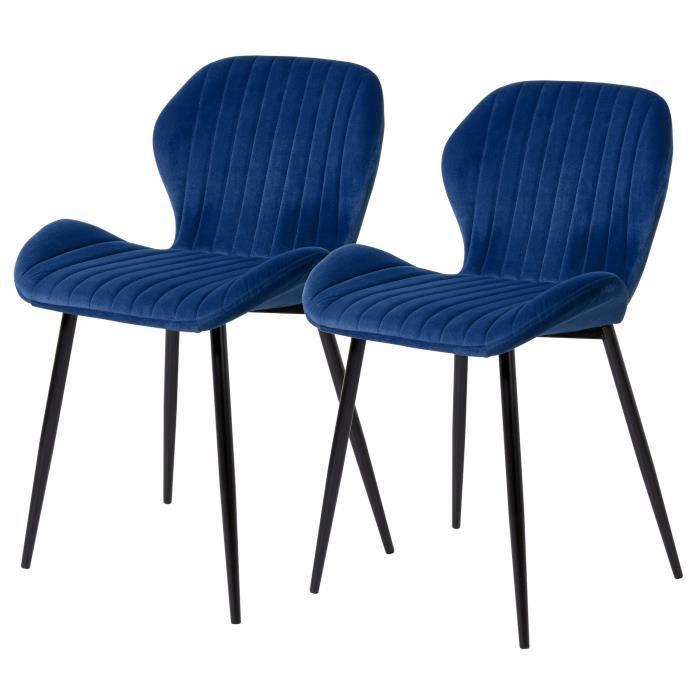 PORTO Lot de 2 Chaises pieds métal - Velours Bleu - L 50 x P...