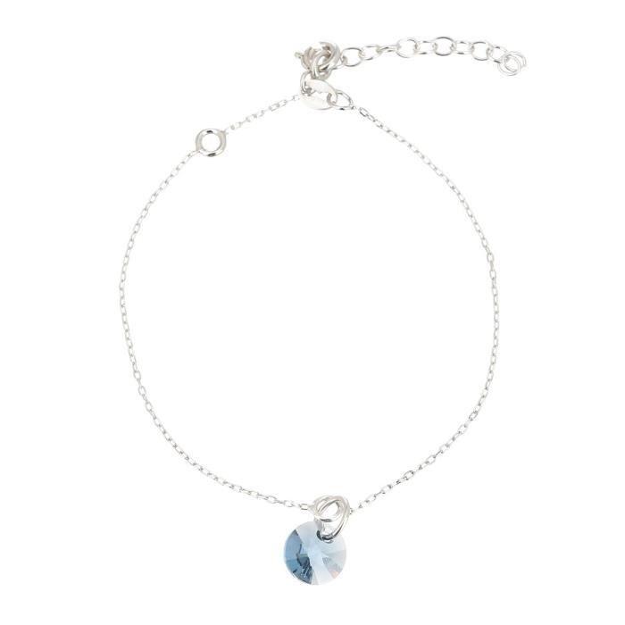 LES BIJOUX D'EMMA CRISTAL - Bracelet en Argent et Cristal De Swarovski Coloris Denim Blue