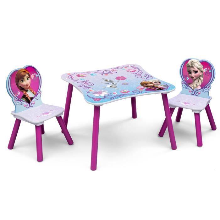 LA REINE DES NEIGES Table enfant et 2 chaises enfant en bois