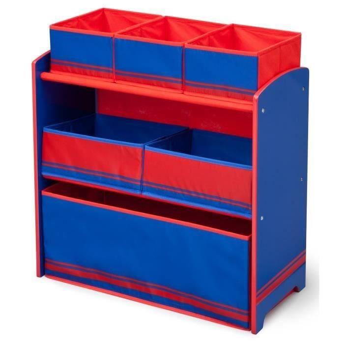 DELTAKIDS - Meuble Enfant en Bois avec 6 Rangements - Bleu et Rouge