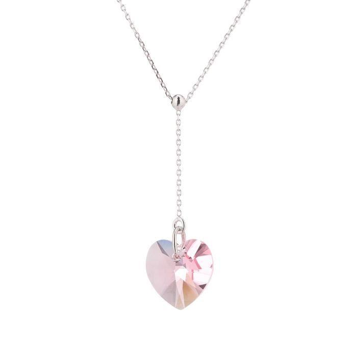LES BIJOUX D'EMMA CRISTAL - Collier en Argent et Cristal De Swarovski Coloris Light Rose