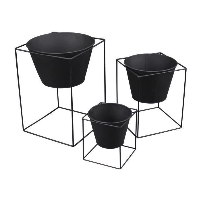 Set de 3 pots sur pied carré en métal Graphic Ethnic -...