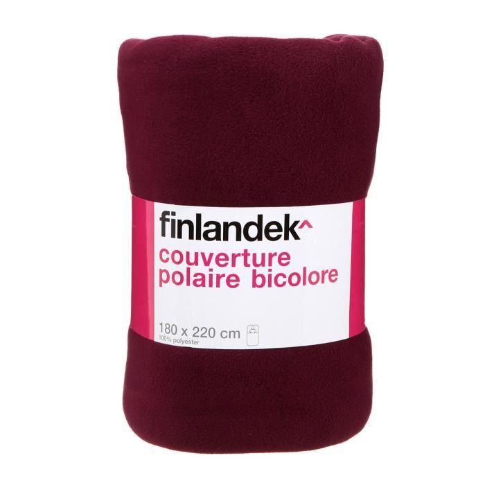 TOUT SIMPLEMENT Couverture polaire polyester - 180x220 cm - Violet Prune / Rose fuschia