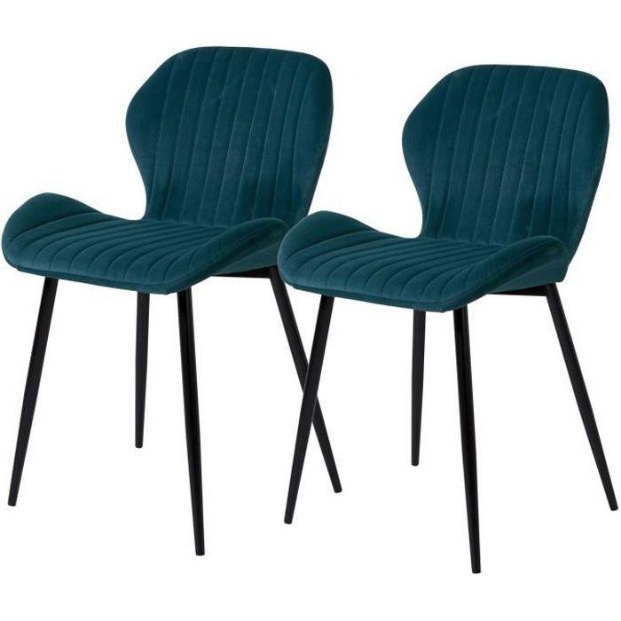 PORTO Lot de 2 Chaises pieds métal - Velours Vert - L 50 x P...